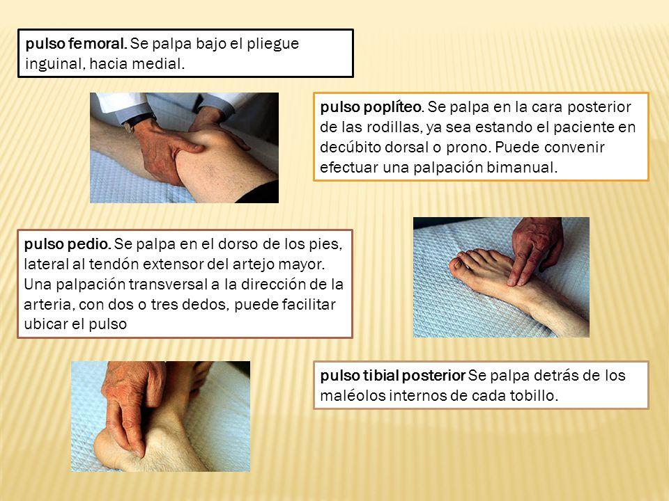 pulso femoral. Se palpa bajo el pliegue inguinal, hacia medial. pulso poplíteo. Se palpa en la cara posterior de las rodillas, ya sea estando el pacie