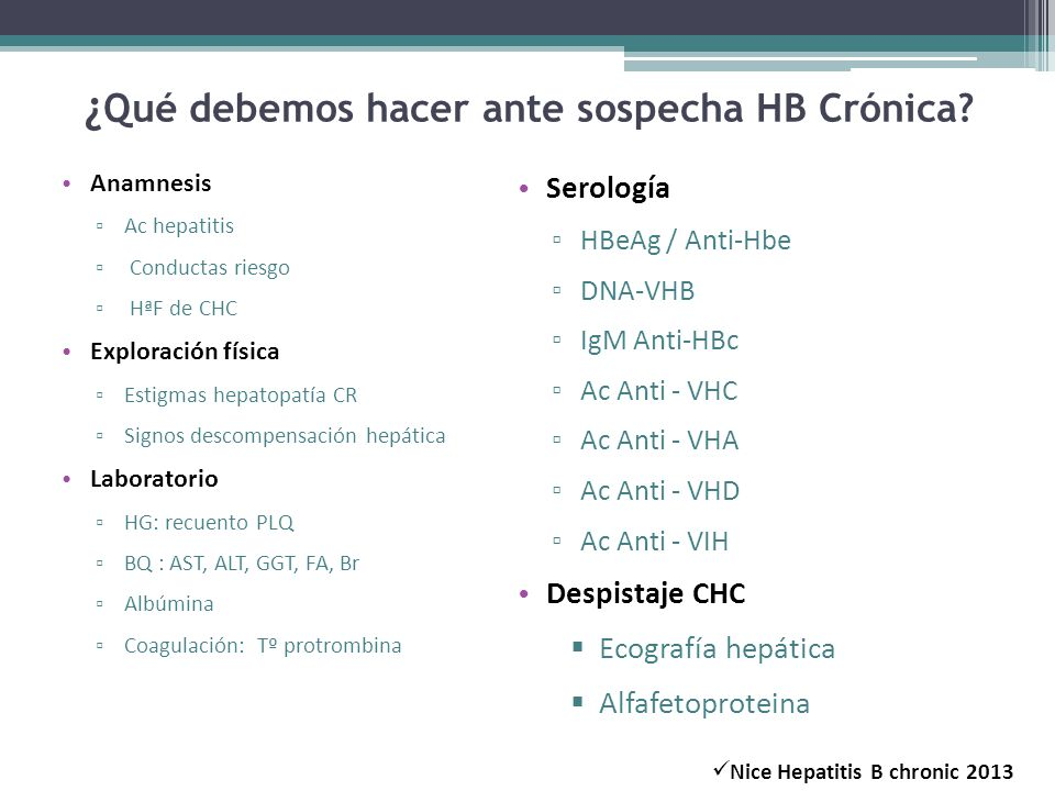 ¿ Qué debemos hacer ante sospecha HB Crónica? Anamnesis Ac hepatitis Conductas riesgo HªF de CHC Exploración física Estigmas hepatopatía CR Signos des