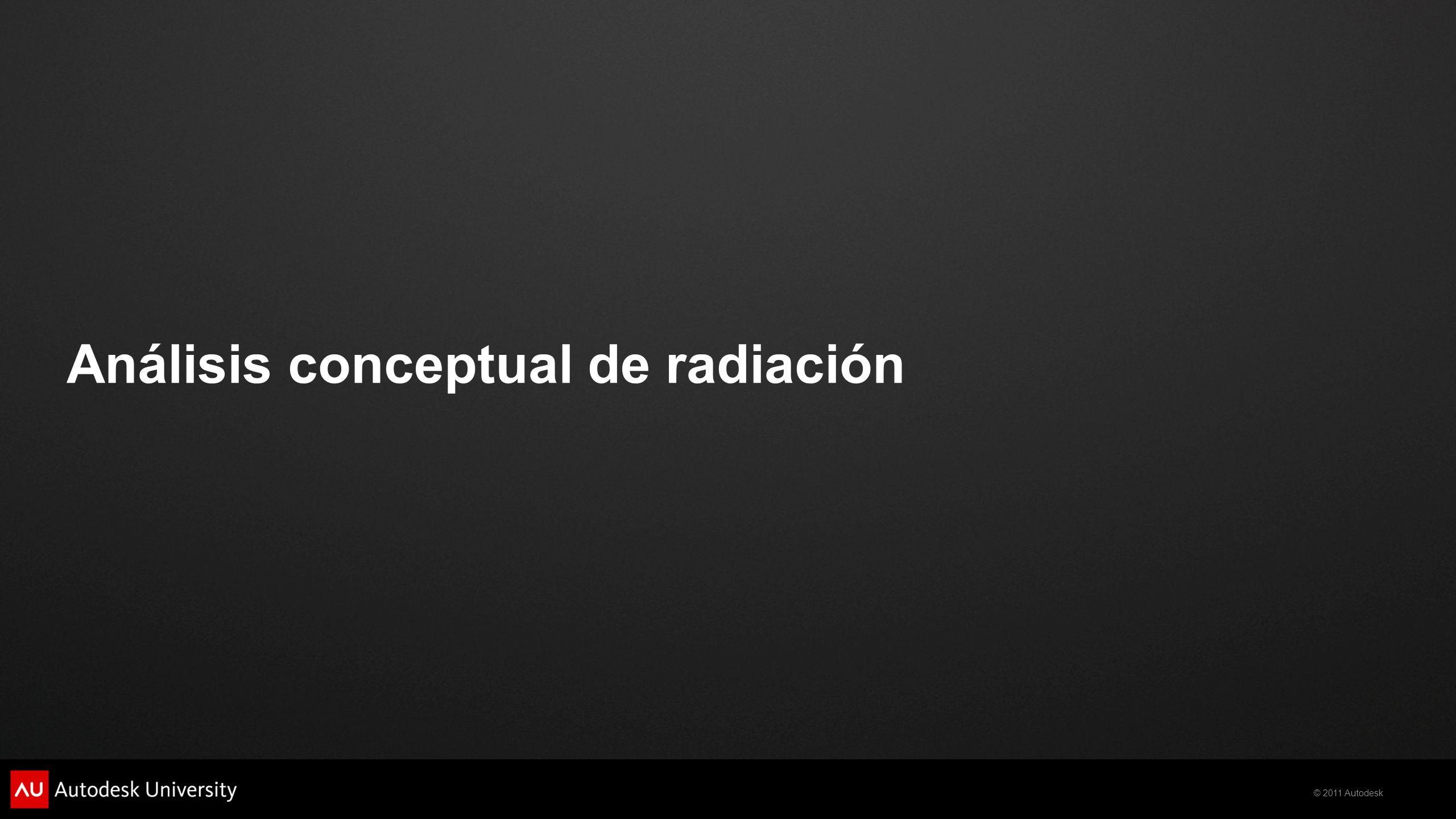 © 2011 Autodesk Análisis conceptual de radiación