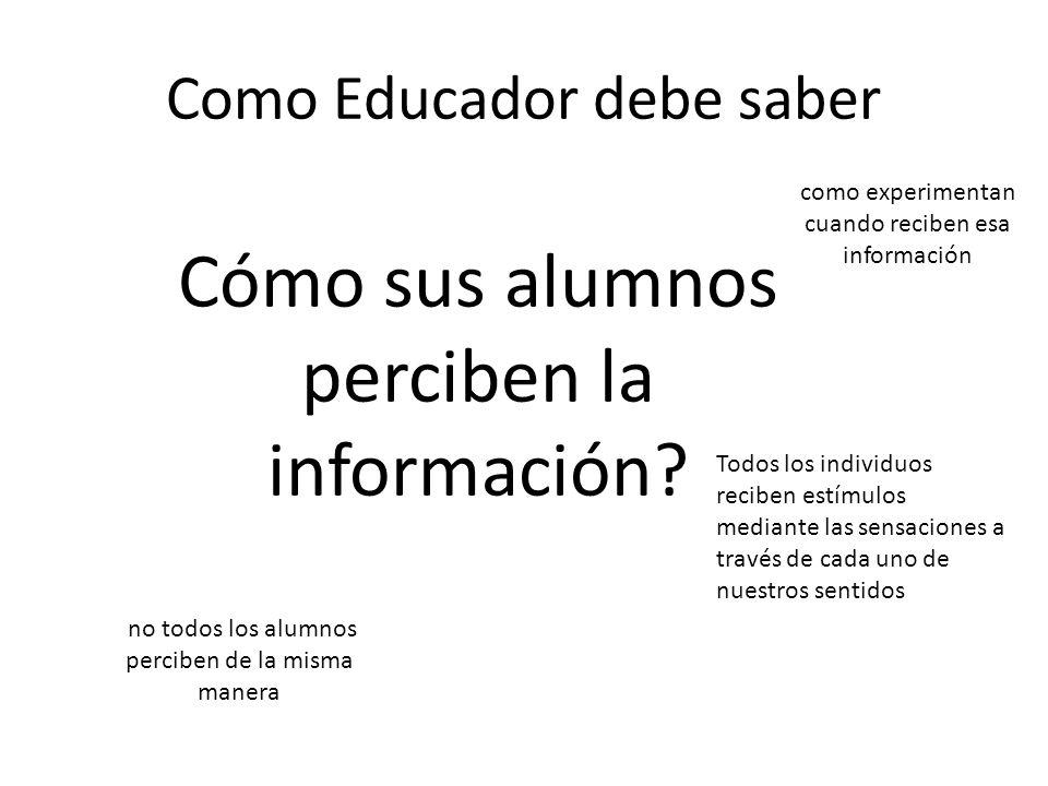 Como Educador debe saber Cómo sus alumnos perciben la información? no todos los alumnos perciben de la misma manera como experimentan cuando reciben e