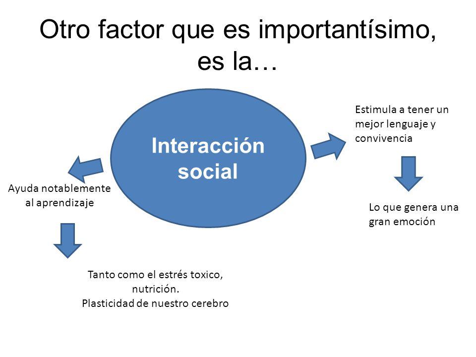 Otro factor que es importantísimo, es la… Interacción social Estimula a tener un mejor lenguaje y convivencia Lo que genera una gran emoción Ayuda not