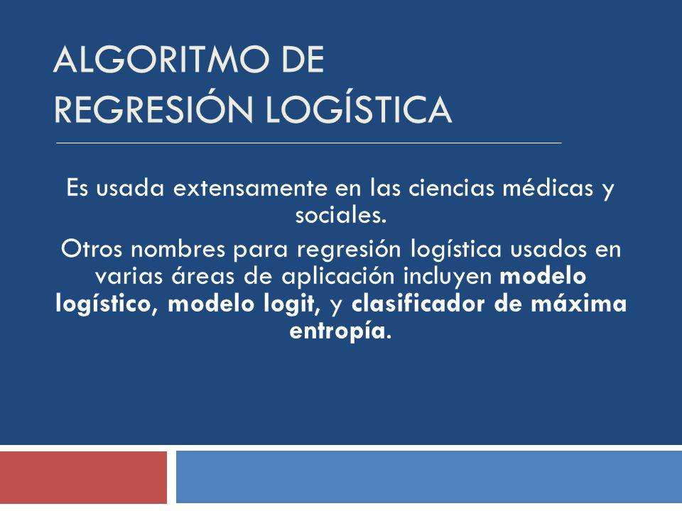 ALGORITMO DE REGRESIÓN LOGÍSTICA Es usada extensamente en las ciencias médicas y sociales.