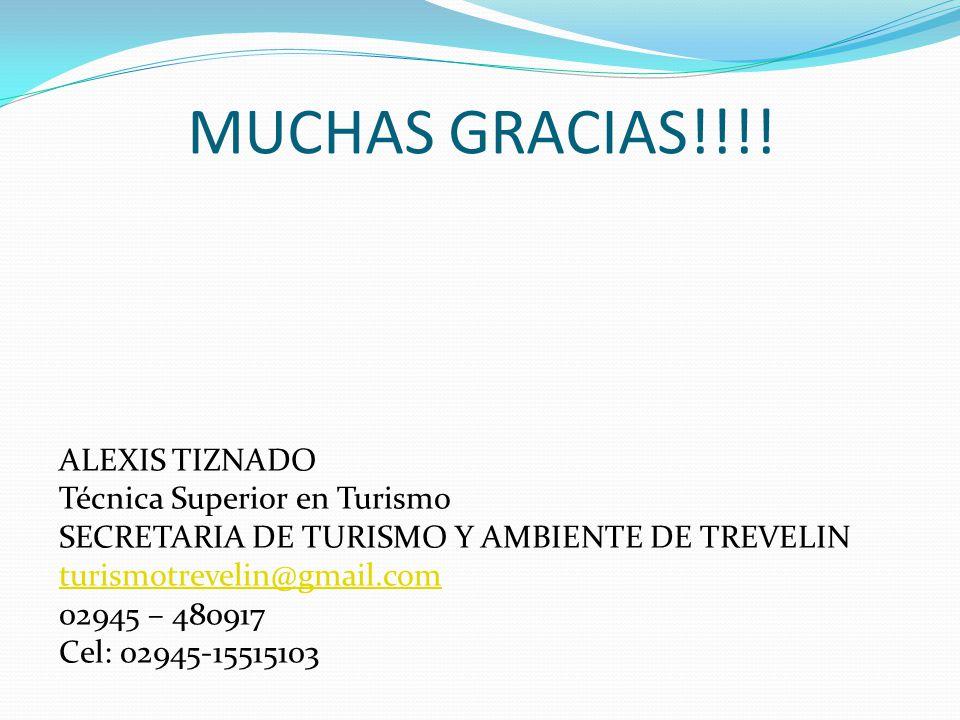 MUCHAS GRACIAS!!!! ALEXIS TIZNADO Técnica Superior en Turismo SECRETARIA DE TURISMO Y AMBIENTE DE TREVELIN turismotrevelin@gmail.com 02945 – 480917 Ce