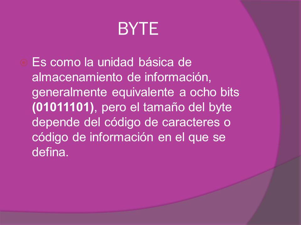 BYTE Es como la unidad básica de almacenamiento de información, generalmente equivalente a ocho bits (01011101), pero el tamaño del byte depende del código de caracteres o código de información en el que se defina.