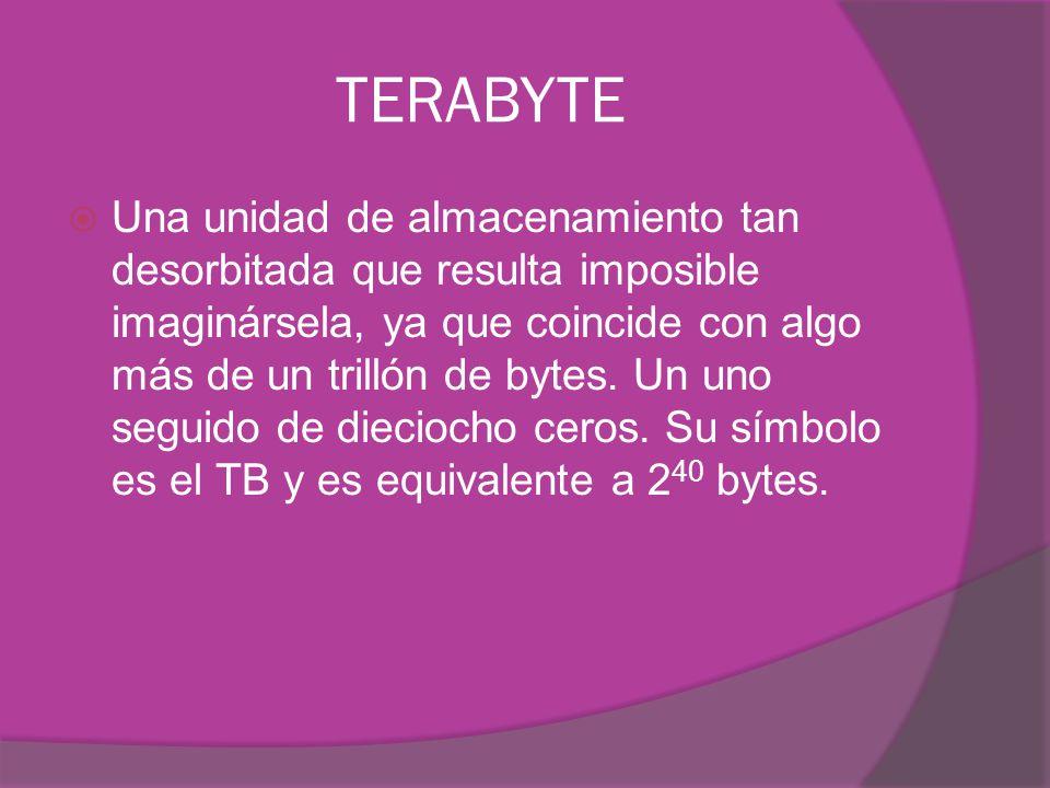TERABYTE Una unidad de almacenamiento tan desorbitada que resulta imposible imaginársela, ya que coincide con algo más de un trillón de bytes.