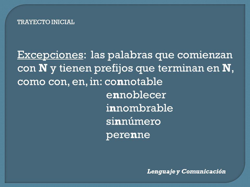 TRAYECTO INICIAL Lenguaje y Comunicación Excepciones: las palabras que comienzan con N y tienen prefijos que terminan en N, como con, en, in: connotab