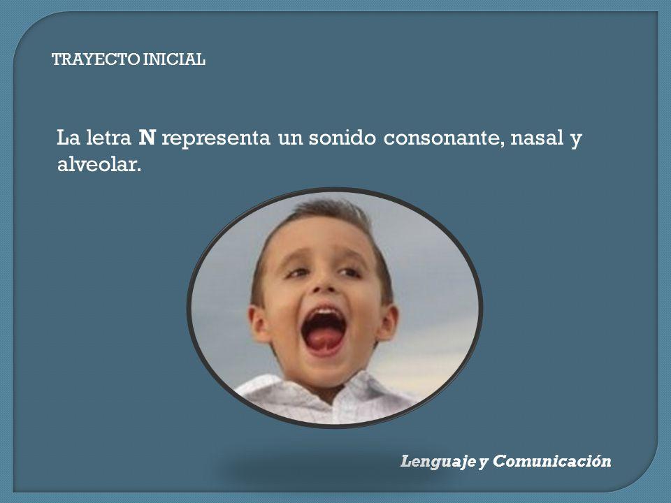 TRAYECTO INICIAL Lenguaje y Comunicación La letra N representa un sonido consonante, nasal y alveolar.