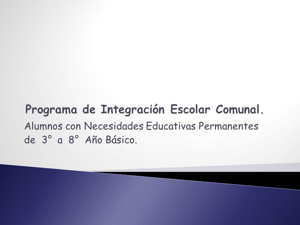 Alumnos con Necesidades Educativas Permanentes de 3° a 8° Año Básico.