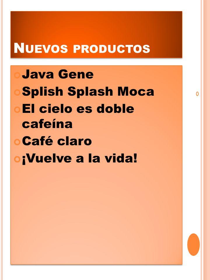 N UEVOS PRODUCTOS Java Gene Splish Splash Moca El cielo es doble cafeína Café claro ¡Vuelve a la vida! Java Gene Splish Splash Moca El cielo es doble