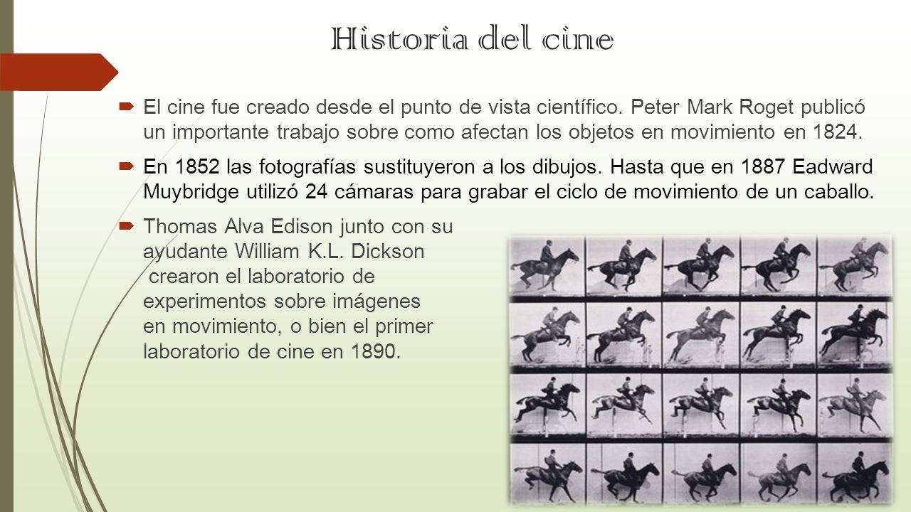 Historia del cine El cine fue creado desde el punto de vista científico. Peter Mark Roget publicó un importante trabajo sobre como afectan los objetos