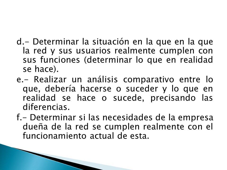 d.- Determinar la situación en la que en la que la red y sus usuarios realmente cumplen con sus funciones (determinar lo que en realidad se hace).