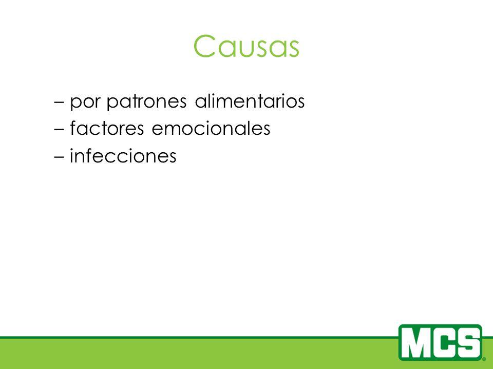 Causas –por patrones alimentarios –factores emocionales –infecciones