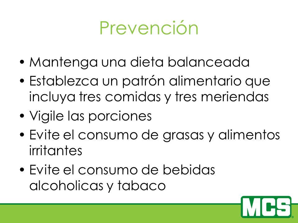 Prevención Mantenga una dieta balanceada Establezca un patrón alimentario que incluya tres comidas y tres meriendas Vigile las porciones Evite el cons