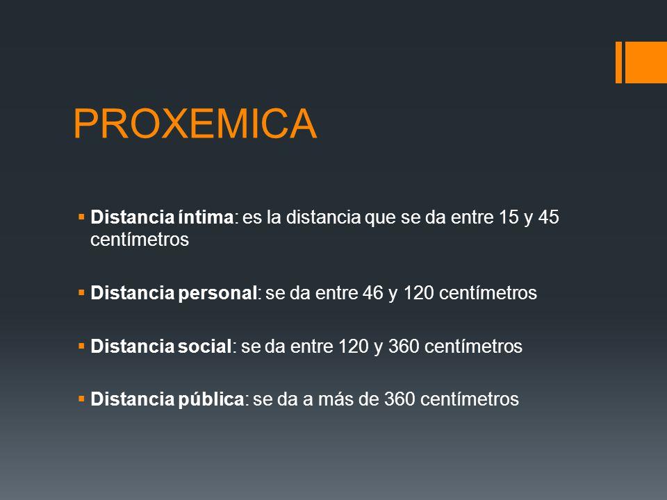PROXEMICA Distancia íntima: es la distancia que se da entre 15 y 45 centímetros Distancia personal: se da entre 46 y 120 centímetros Distancia social: