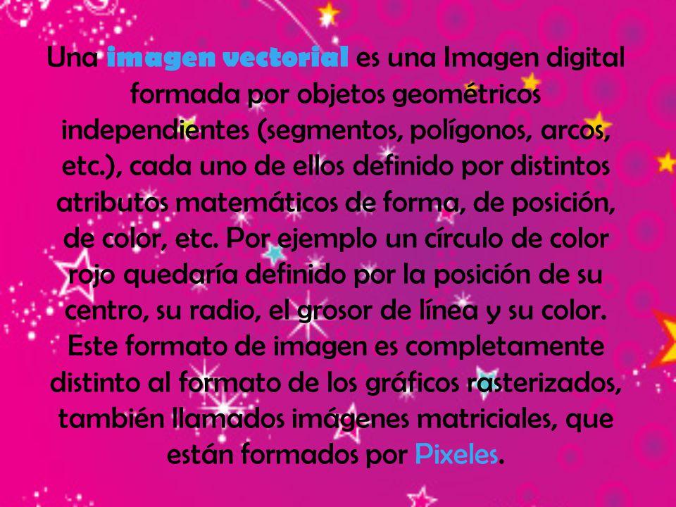 Una imagen vectorial es una Imagen digital formada por objetos geométricos independientes (segmentos, polígonos, arcos, etc.), cada uno de ellos defin