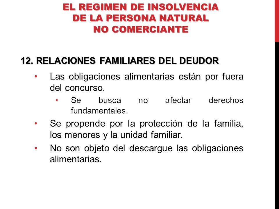 12.RELACIONES FAMILIARES DEL DEUDOR Las obligaciones alimentarias están por fuera del concurso. Se busca no afectar derechos fundamentales. Se propend