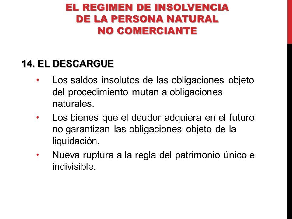 14.EL DESCARGUE Los saldos insolutos de las obligaciones objeto del procedimiento mutan a obligaciones naturales. Los bienes que el deudor adquiera en