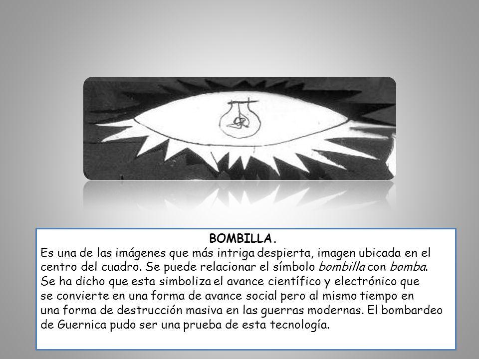 BOMBILLA. Es una de las imágenes que más intriga despierta, imagen ubicada en el centro del cuadro. Se puede relacionar el símbolo bombilla con bomba.