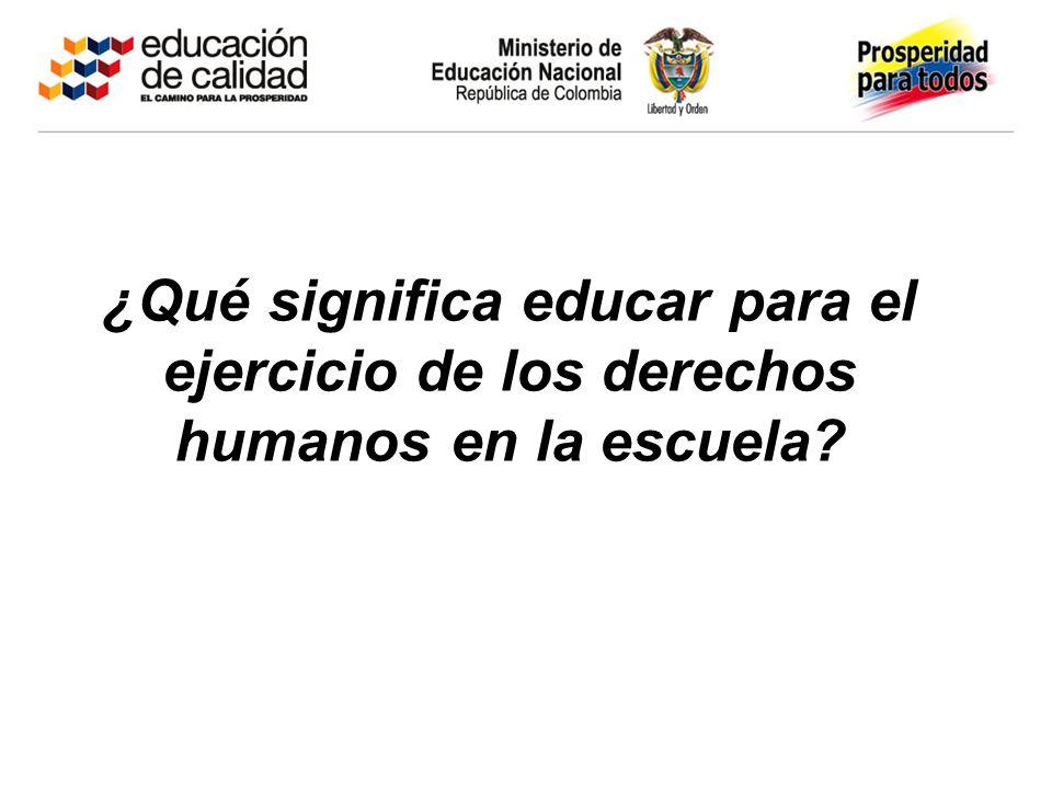 ¿Qué significa educar para el ejercicio de los derechos humanos en la escuela?
