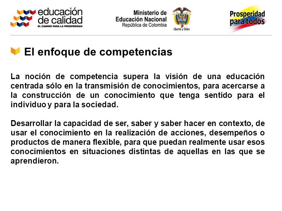 El enfoque de competencias La noción de competencia supera la visión de una educación centrada sólo en la transmisión de conocimientos, para acercarse
