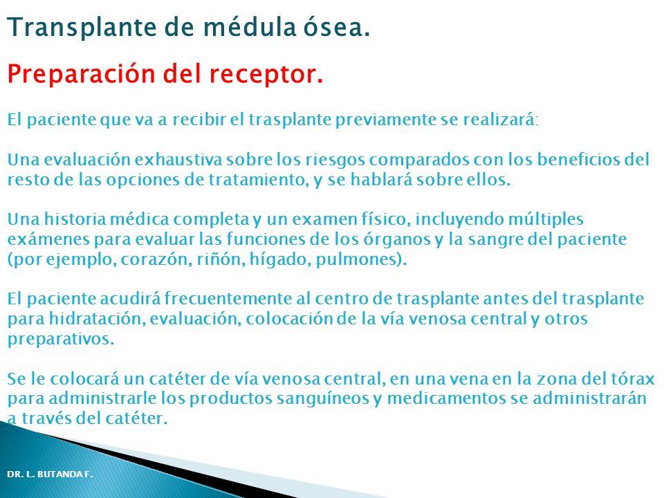 Preparación del receptor. El paciente que va a recibir el trasplante previamente se realizará: Una evaluación exhaustiva sobre los riesgos comparados