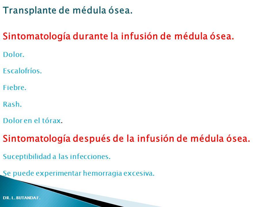 Sintomatología durante la infusión de médula ósea. Dolor. Escalofríos. Fiebre. Rash. Dolor en el tórax. Sintomatología después de la infusión de médul