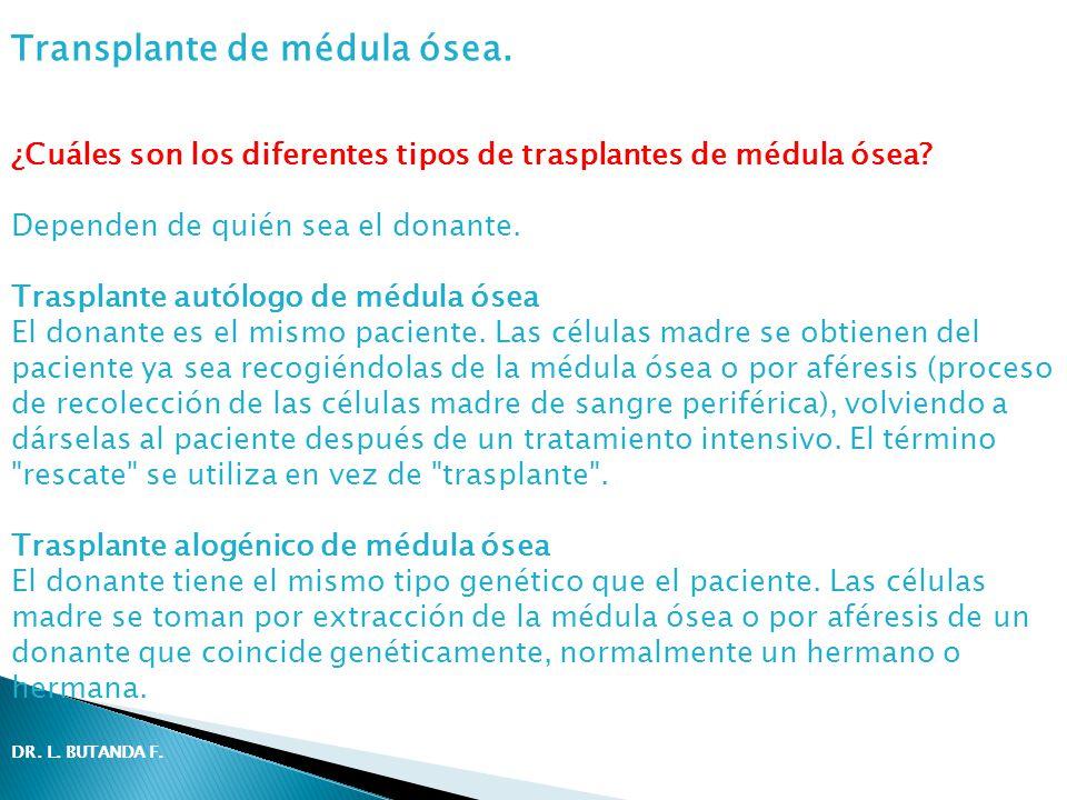 ¿Cuáles son los diferentes tipos de trasplantes de médula ósea? Dependen de quién sea el donante. Trasplante autólogo de médula ósea El donante es el