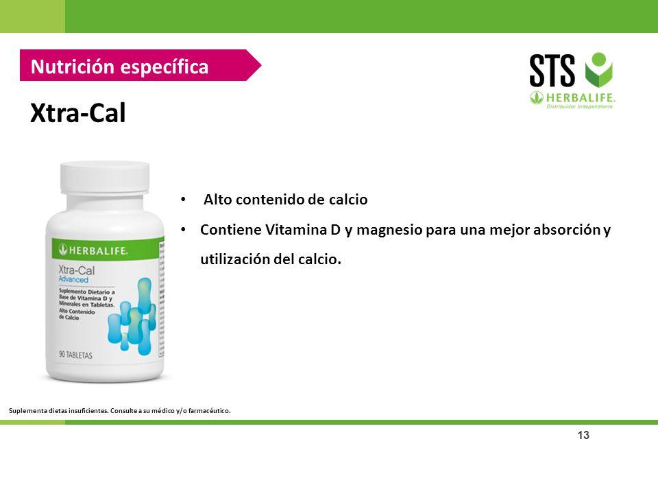 13 Xtra-Cal Alto contenido de calcio Contiene Vitamina D y magnesio para una mejor absorción y utilización del calcio. Nutrición específica Suplementa