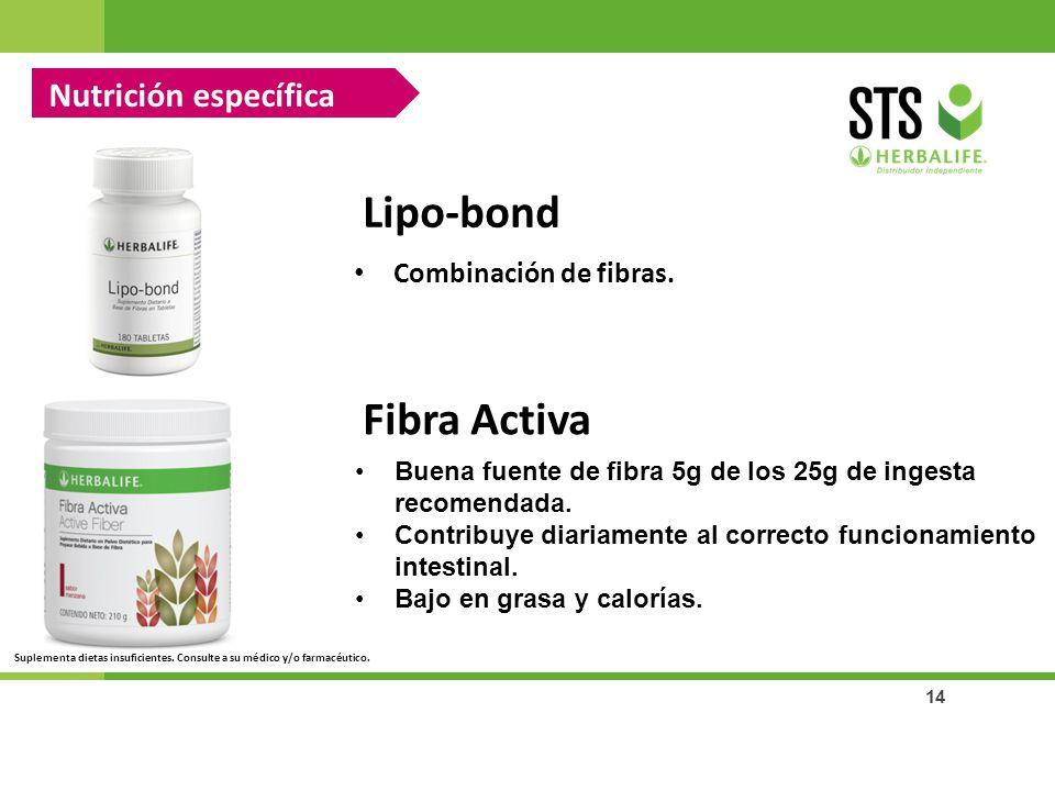 14 Nutrición específica Lipo-bond Combinación de fibras. Fibra Activa Buena fuente de fibra 5g de los 25g de ingesta recomendada. Contribuye diariamen