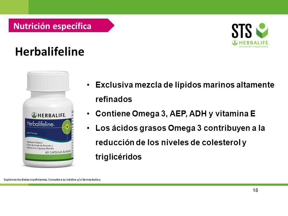 15 Herbalifeline Nutrición específica Exclusiva mezcla de lípidos marinos altamente refinados Contiene Omega 3, AEP, ADH y vitamina E Los ácidos graso