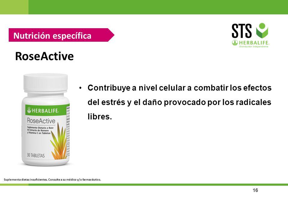 16 RoseActive Nutrición específica Contribuye a nivel celular a combatir los efectos del estrés y el daño provocado por los radicales libres. Suplemen