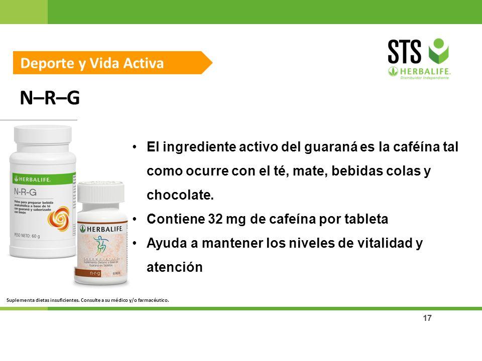 17 N–R–G Deporte y Vida Activa El ingrediente activo del guaraná es la caféína tal como ocurre con el té, mate, bebidas colas y chocolate. Contiene 32