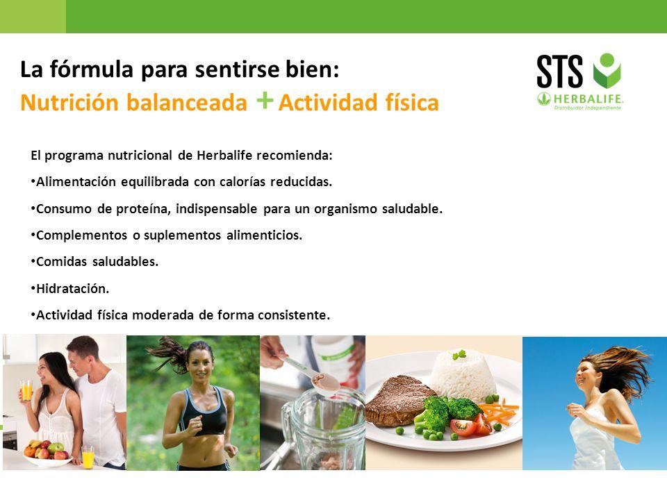 22 La fórmula para sentirse bien: Nutrición balanceada + Actividad física El programa nutricional de Herbalife recomienda: Alimentación equilibrada co