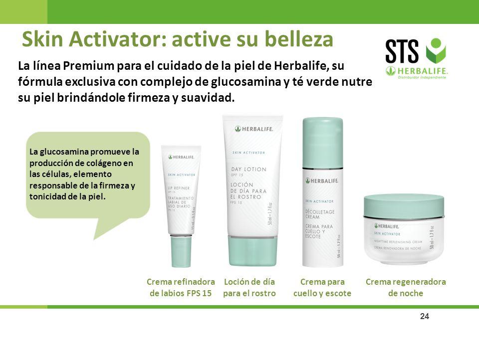 24 Skin Activator: active su belleza Crema regeneradora de noche Crema para cuello y escote Loción de día para el rostro Crema refinadora de labios FP