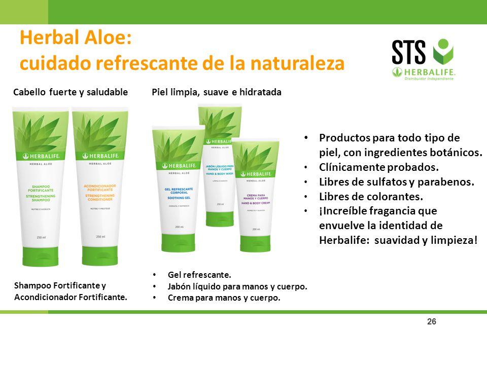 26 Herbal Aloe: cuidado refrescante de la naturaleza Shampoo Fortificante y Acondicionador Fortificante. Cabello fuerte y saludablePiel limpia, suave