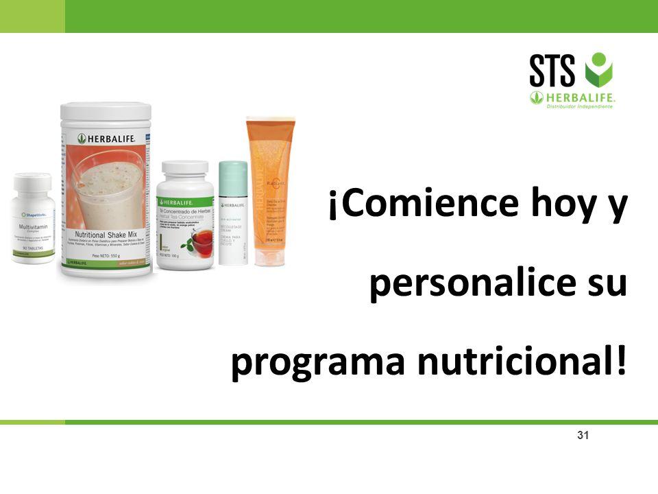 31 ¡Comience hoy y personalice su programa nutricional!