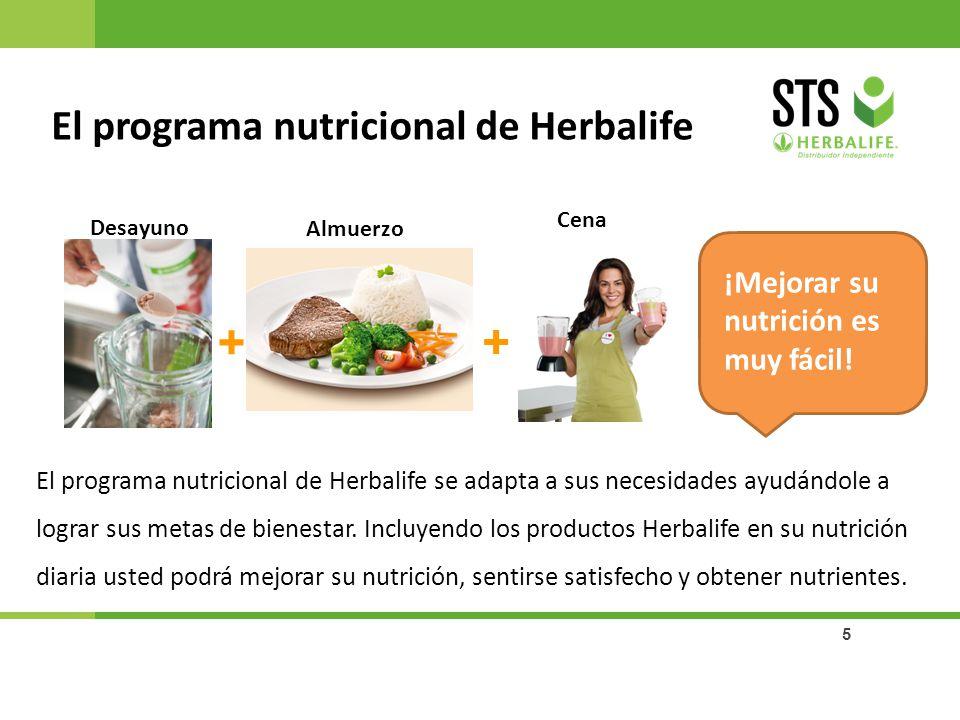 5 ¡Mejorar su nutrición es muy fácil! El programa nutricional de Herbalife se adapta a sus necesidades ayudándole a lograr sus metas de bienestar. Inc