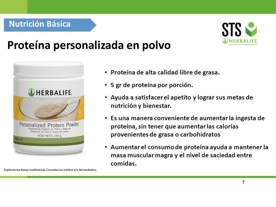 7 Proteína personalizada en polvo Proteína de alta calidad libre de grasa. 5 gr de proteína por porción. Ayuda a satisfacer el apetito y lograr sus me