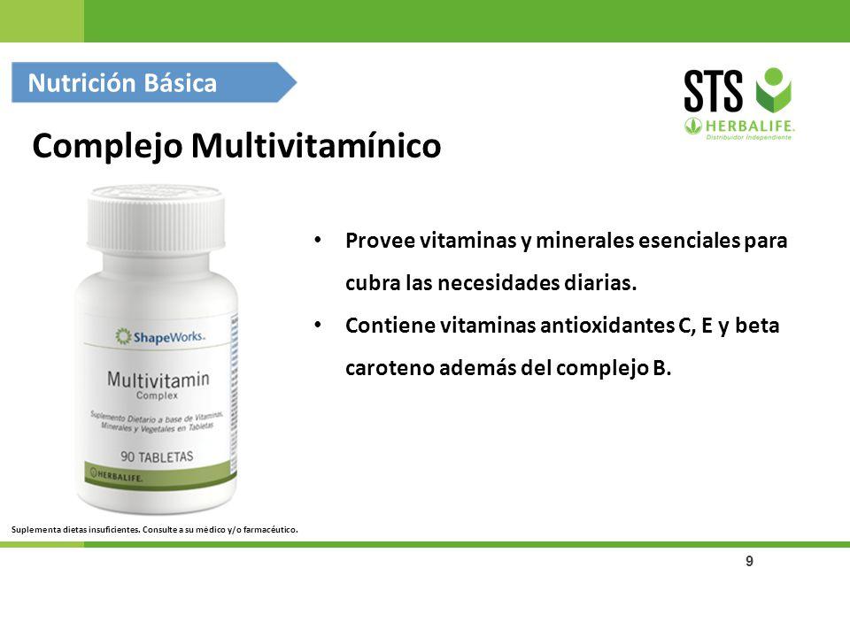 9 Provee vitaminas y minerales esenciales para cubra las necesidades diarias. Contiene vitaminas antioxidantes C, E y beta caroteno además del complej