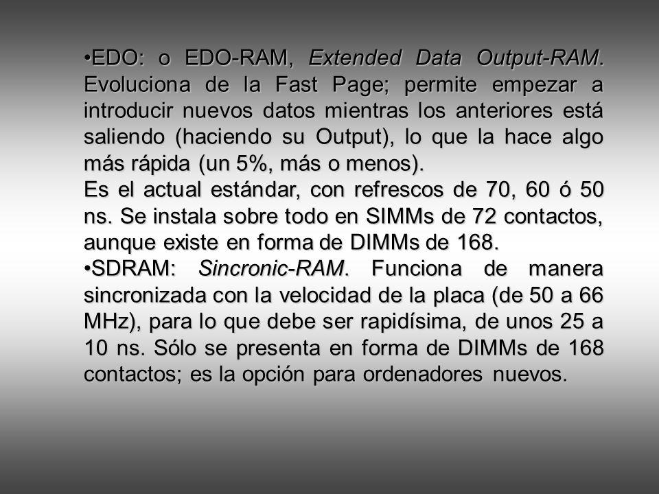 EDO: o EDO-RAM, Extended Data Output-RAM. Evoluciona de la Fast Page; permite empezar a introducir nuevos datos mientras los anteriores está saliendo
