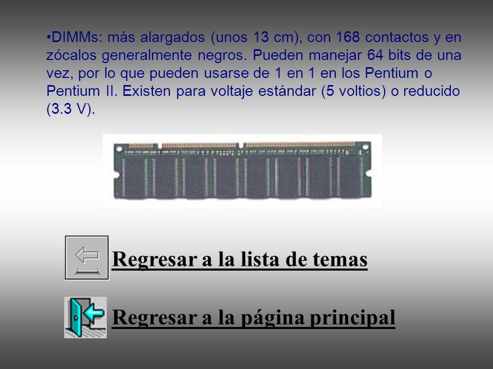 DIMMs: más alargados (unos 13 cm), con 168 contactos y en zócalos generalmente negros. Pueden manejar 64 bits de una vez, por lo que pueden usarse de