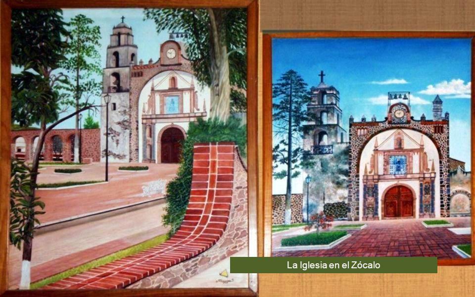 Pintura el Restaurante San Pedro donde se aprecia la Iglesia principal