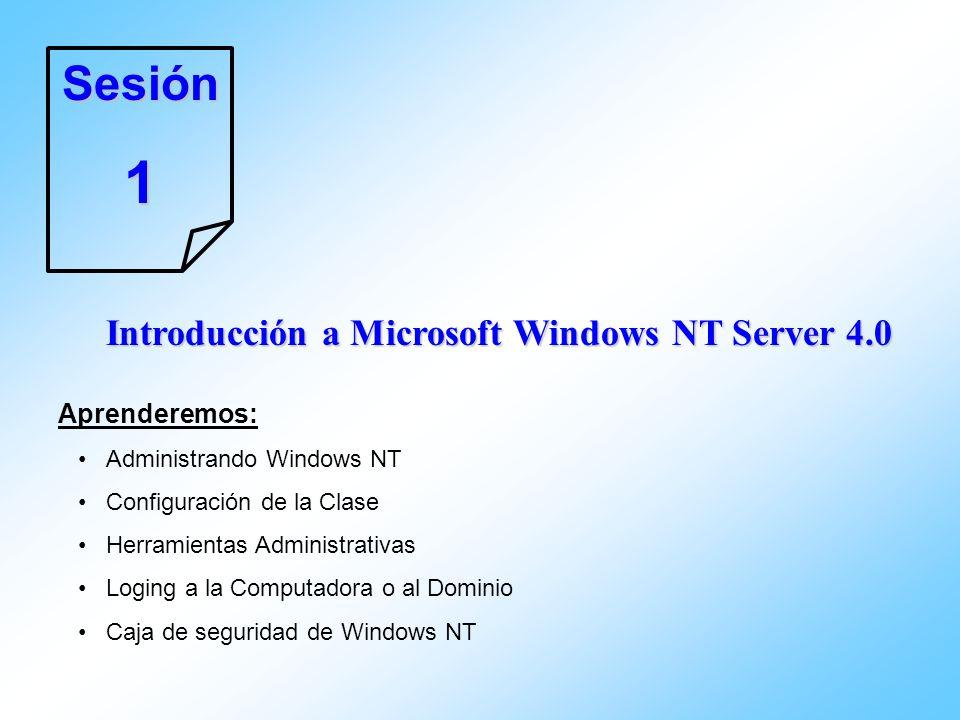 Sesión1 Introducción a Microsoft Windows NT Server 4.0 Aprenderemos: Administrando Windows NT Configuración de la Clase Herramientas Administrativas L
