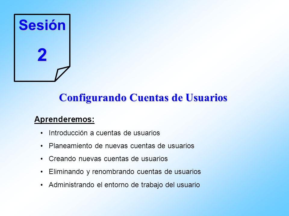 Sesión2 Configurando Cuentas de Usuarios Aprenderemos: Introducción a cuentas de usuarios Planeamiento de nuevas cuentas de usuarios Creando nuevas cu