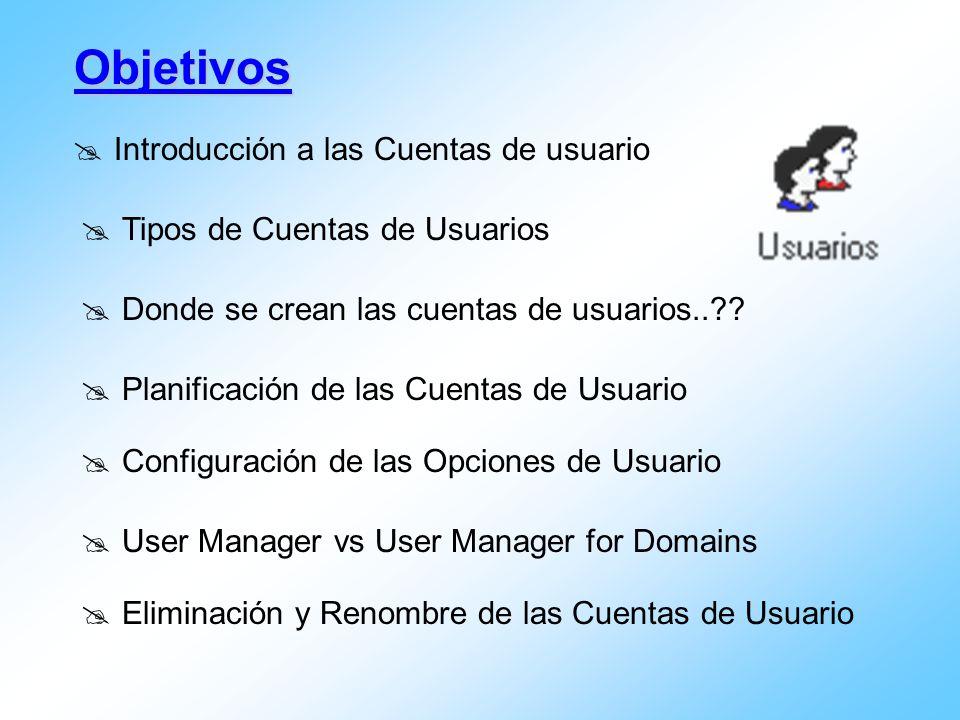 Introducción a las Cuentas de usuario Objetivos Tipos de Cuentas de Usuarios Planificación de las Cuentas de Usuario User Manager vs User Manager for