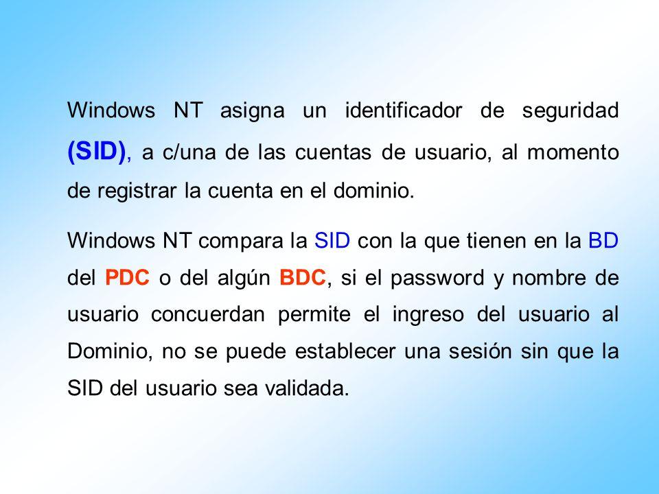 Windows NT asigna un identificador de seguridad (SID), a c/una de las cuentas de usuario, al momento de registrar la cuenta en el dominio. Windows NT