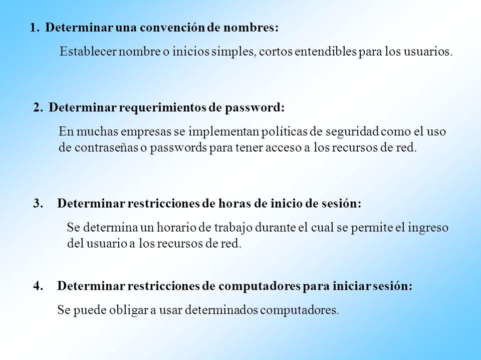 1.Determinar una convención de nombres: Establecer nombre o inicios simples, cortos entendibles para los usuarios. 2.Determinar requerimientos de pass