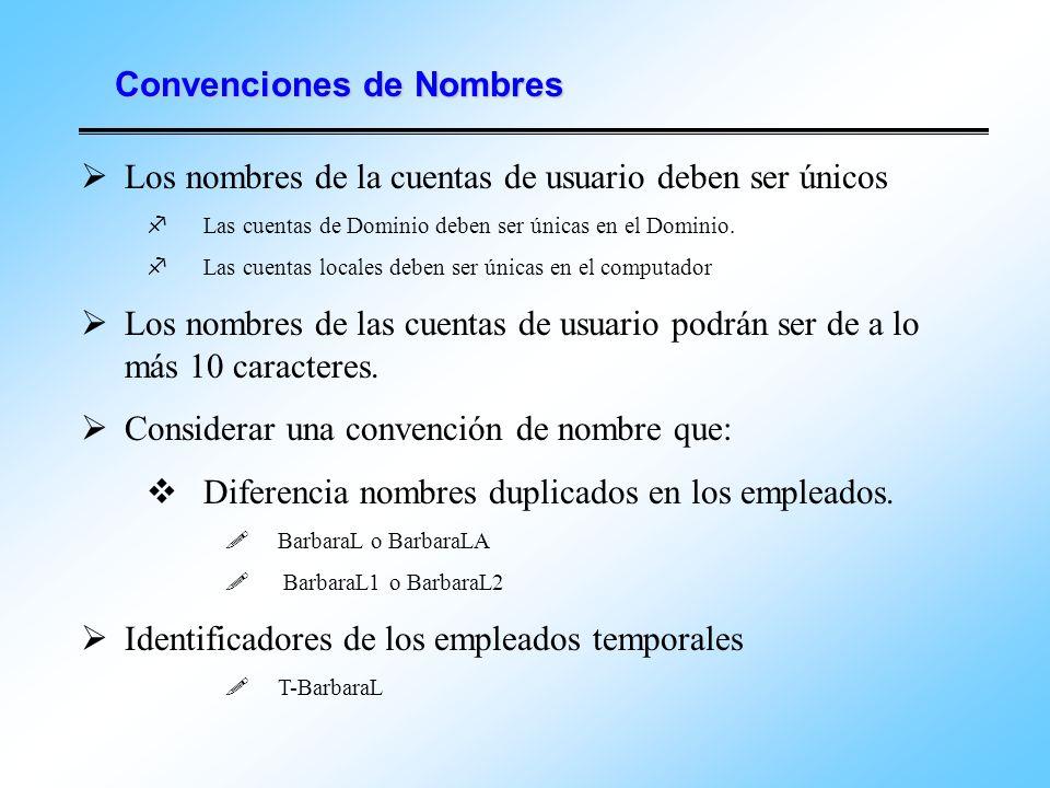Convenciones de Nombres Los nombres de la cuentas de usuario deben ser únicos Las cuentas de Dominio deben ser únicas en el Dominio. Las cuentas local