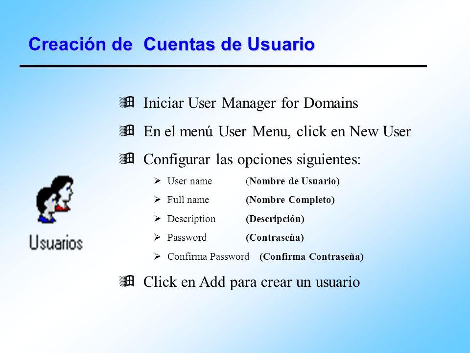 Creación de Cuentas de Usuario Iniciar User Manager for Domains En el menú User Menu, click en New User Configurar las opciones siguientes: User name
