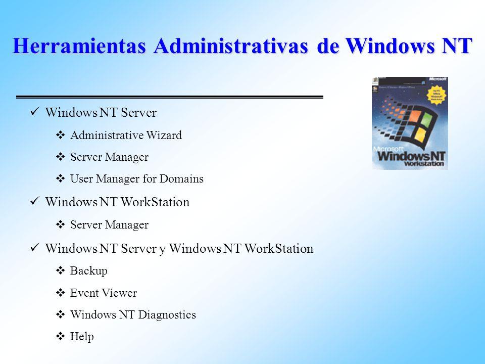 Herramientas Administrativas de Windows NT Las Herramientas Adm., son aplicaciones de Win32 que viene con el sistema operativo y que ejecutar tareas administrativas sobre el sistema operativo.